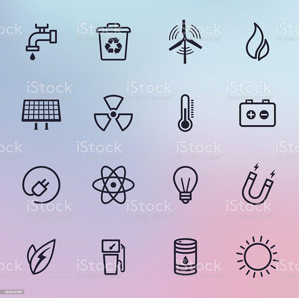 Energy Line Icons vector art illustration
