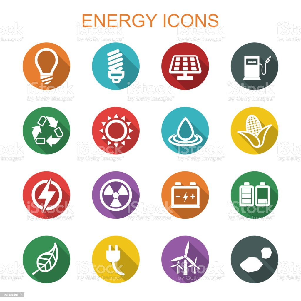 energy long shadow icons vector art illustration