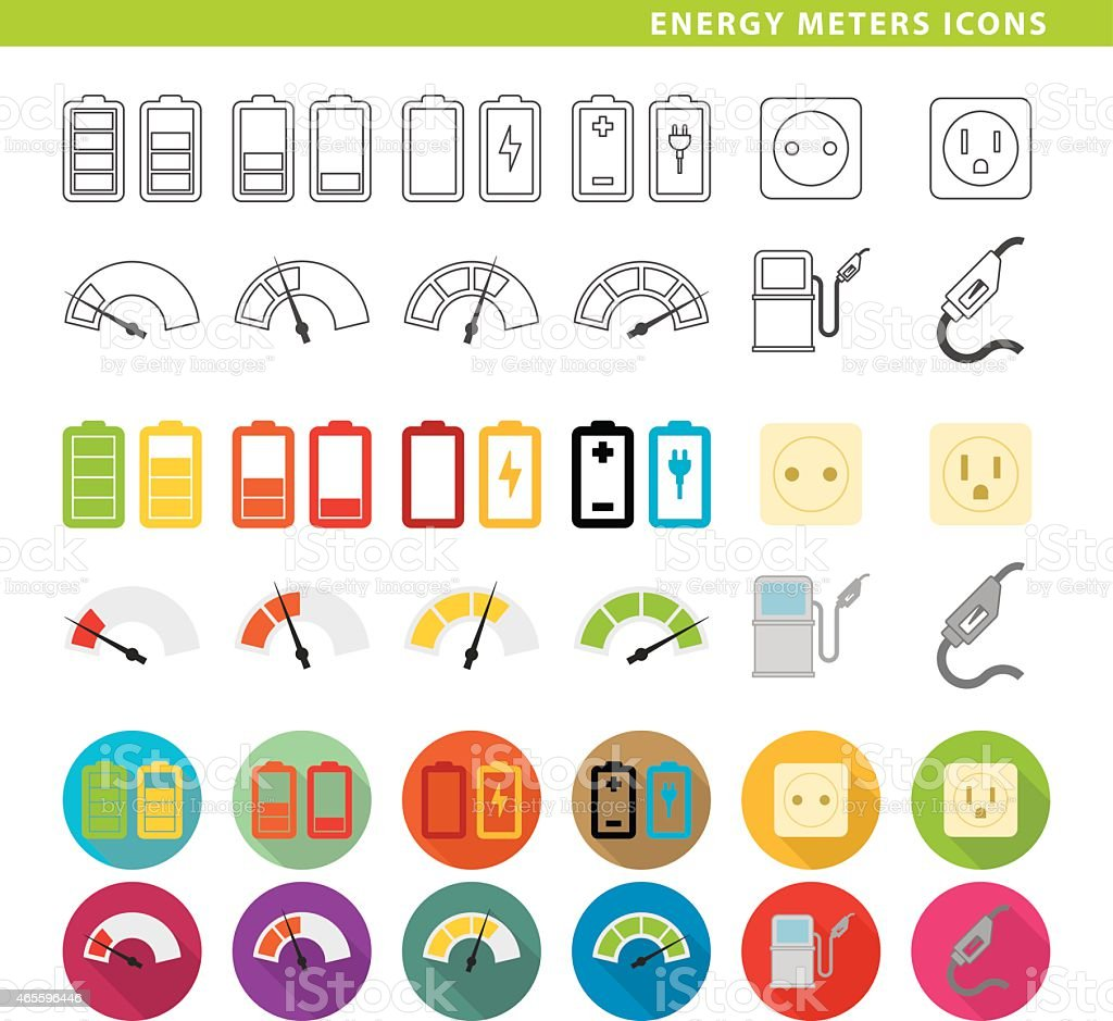Energy meters icons. vector art illustration
