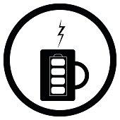 Energy mug with coffee or tea