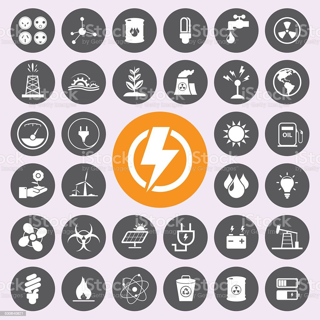 Energy power and environment icon set.Vector/EPS10 vector art illustration