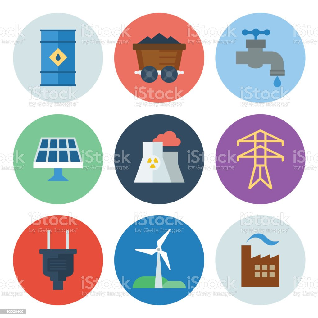 Energy & Power Icons — Circle Series vector art illustration
