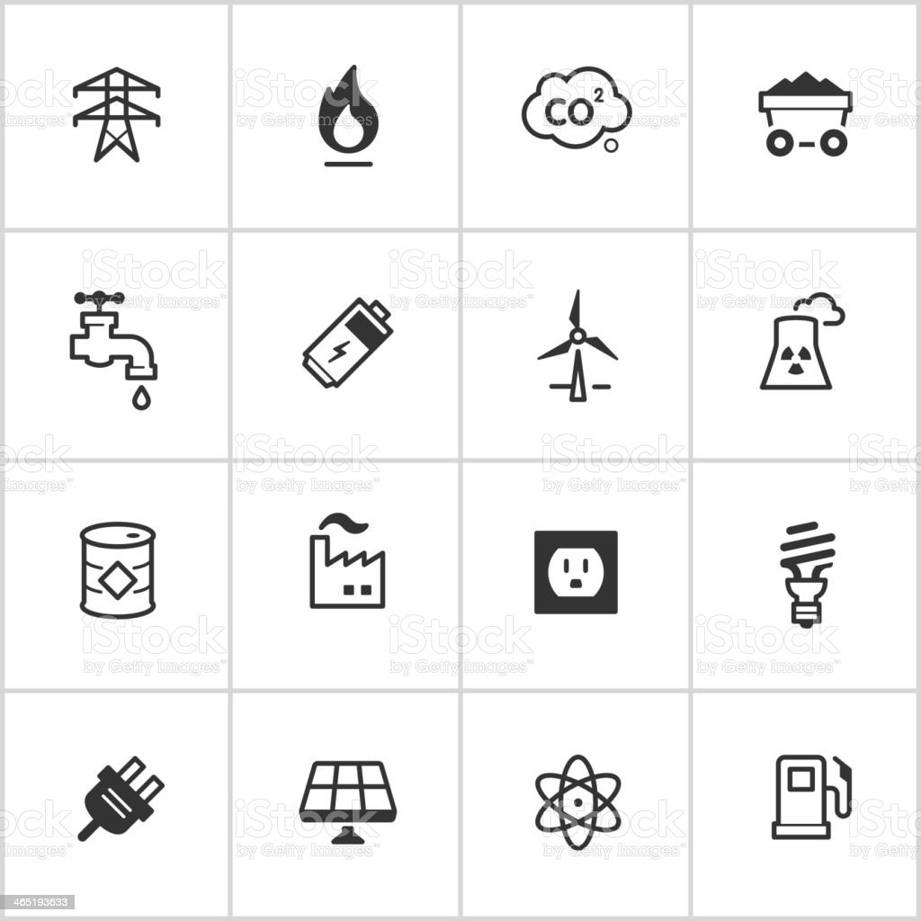 Energy & Power Icons — Inky Series vector art illustration