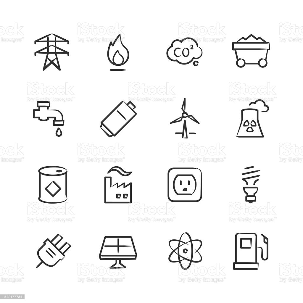 Energy & Power Icons — Sketchy Series vector art illustration