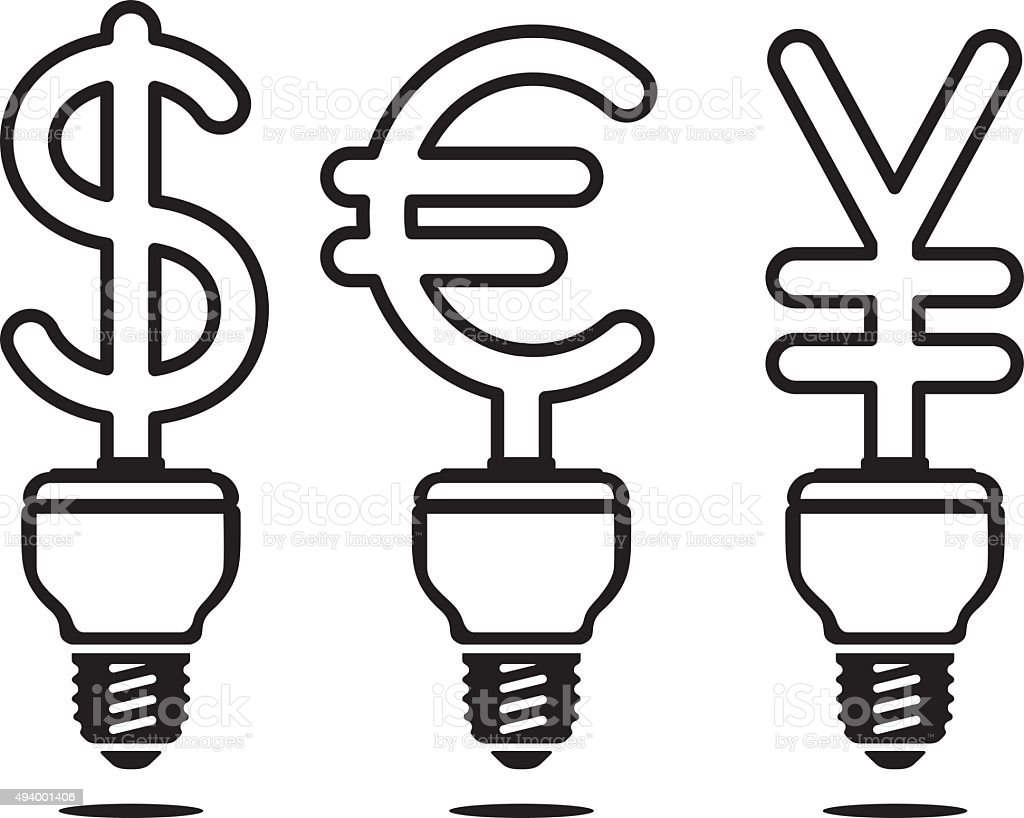 Energy saving lamps in form of currency vector art illustration
