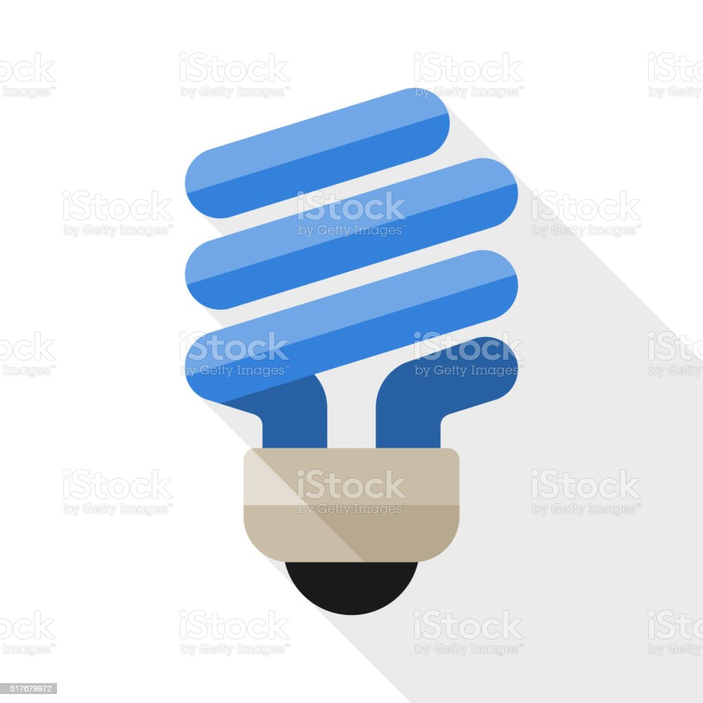 Energy saving light bulb flat icon vector art illustration