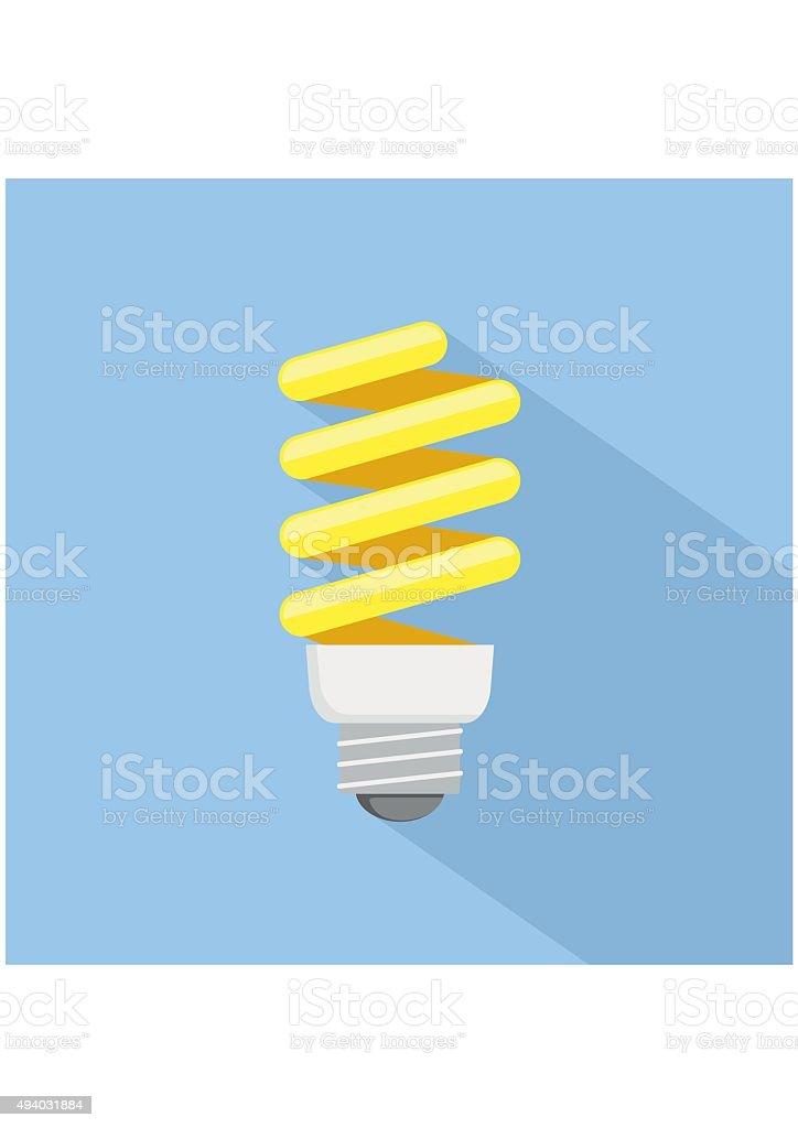Energy saving Light Bulb Icon. Flat style vector art illustration