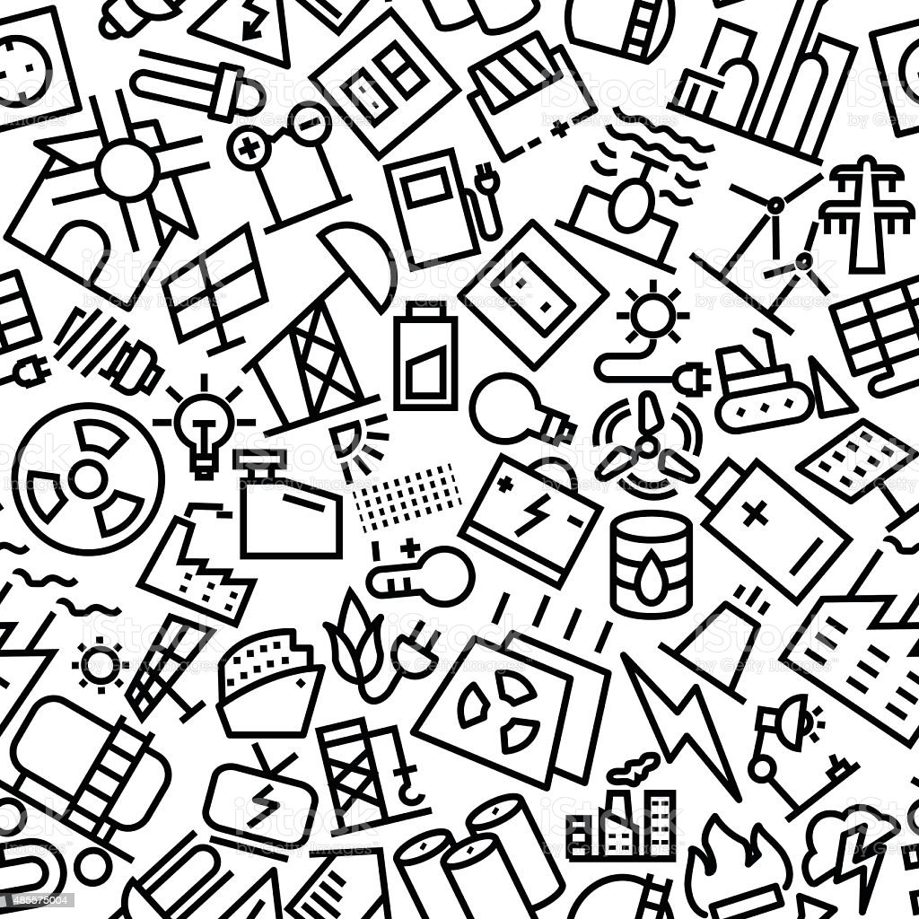 Energy Seamless Hand Drawn Icon Pattern vector art illustration