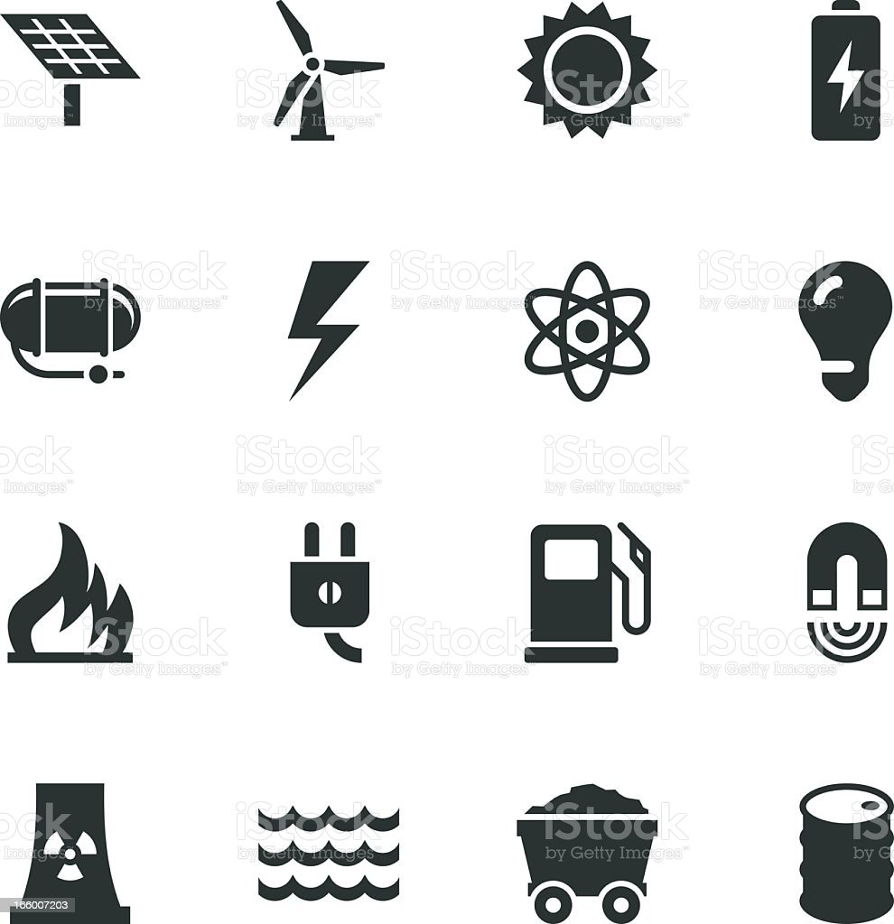 Energy Silhouette Icons royalty-free stock vector art