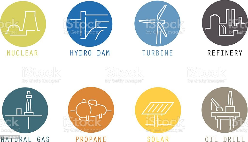 Energy Source Color Icons (thin lines) vector art illustration