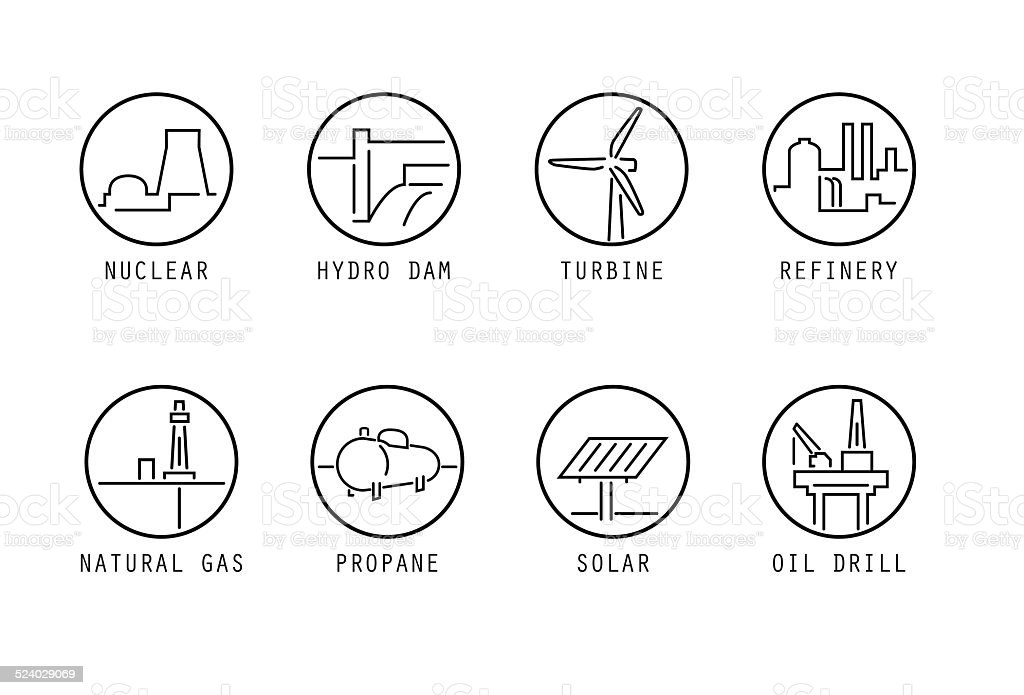Energy Source Icons (thin lines) vector art illustration