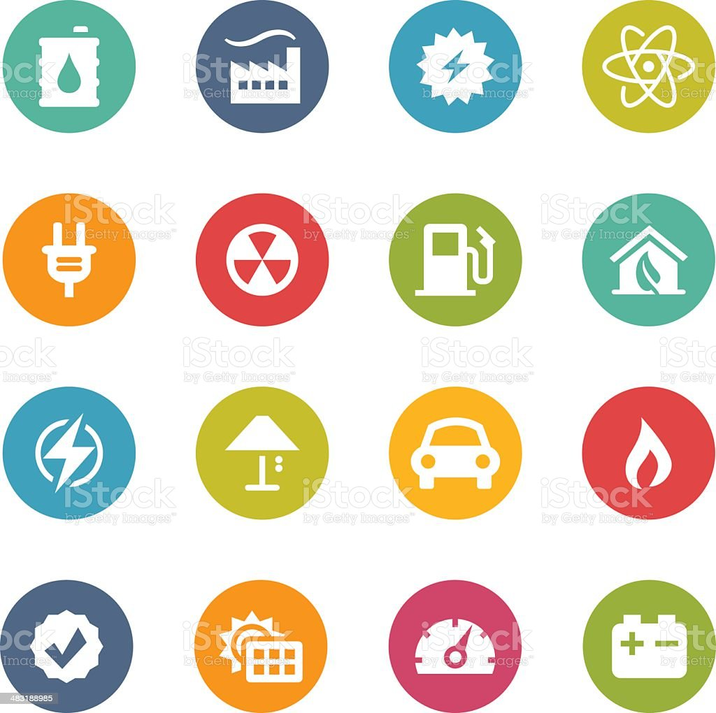 Energy-themed colorful round icon set vector art illustration