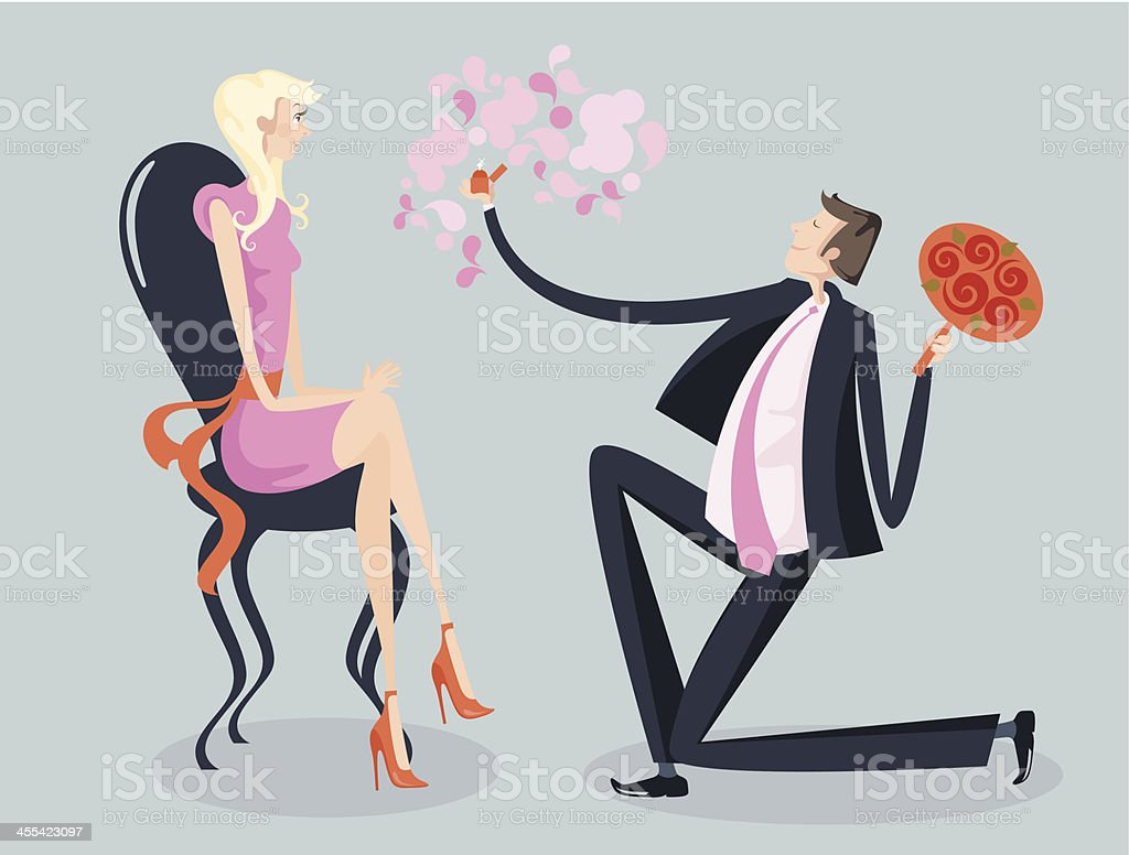 Engagement ceremony. vector art illustration