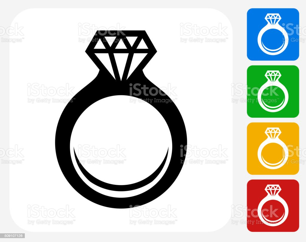 Engagement Ring Icon Flat Graphic Design vector art illustration