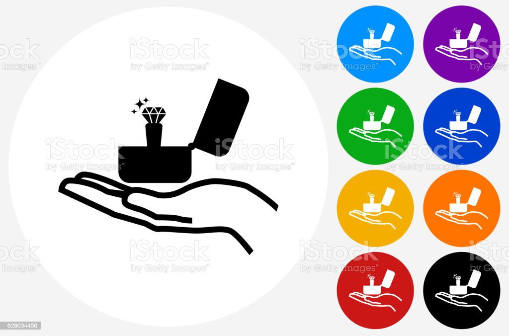 Engagement Ring Icon on Flat Color Circle Buttons vector art illustration