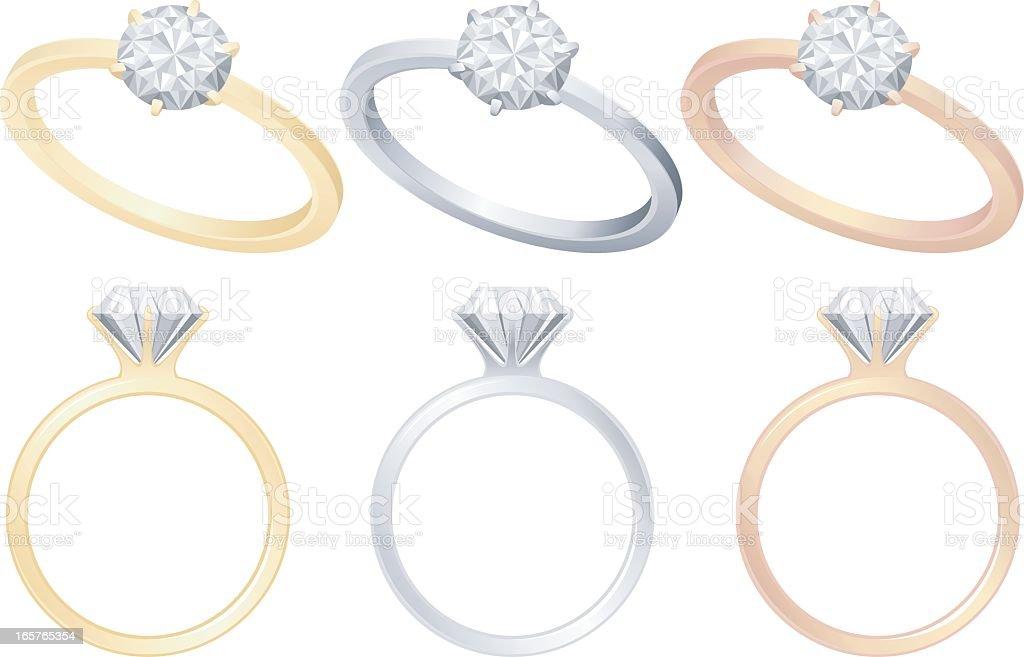 Engagement Rings vector art illustration
