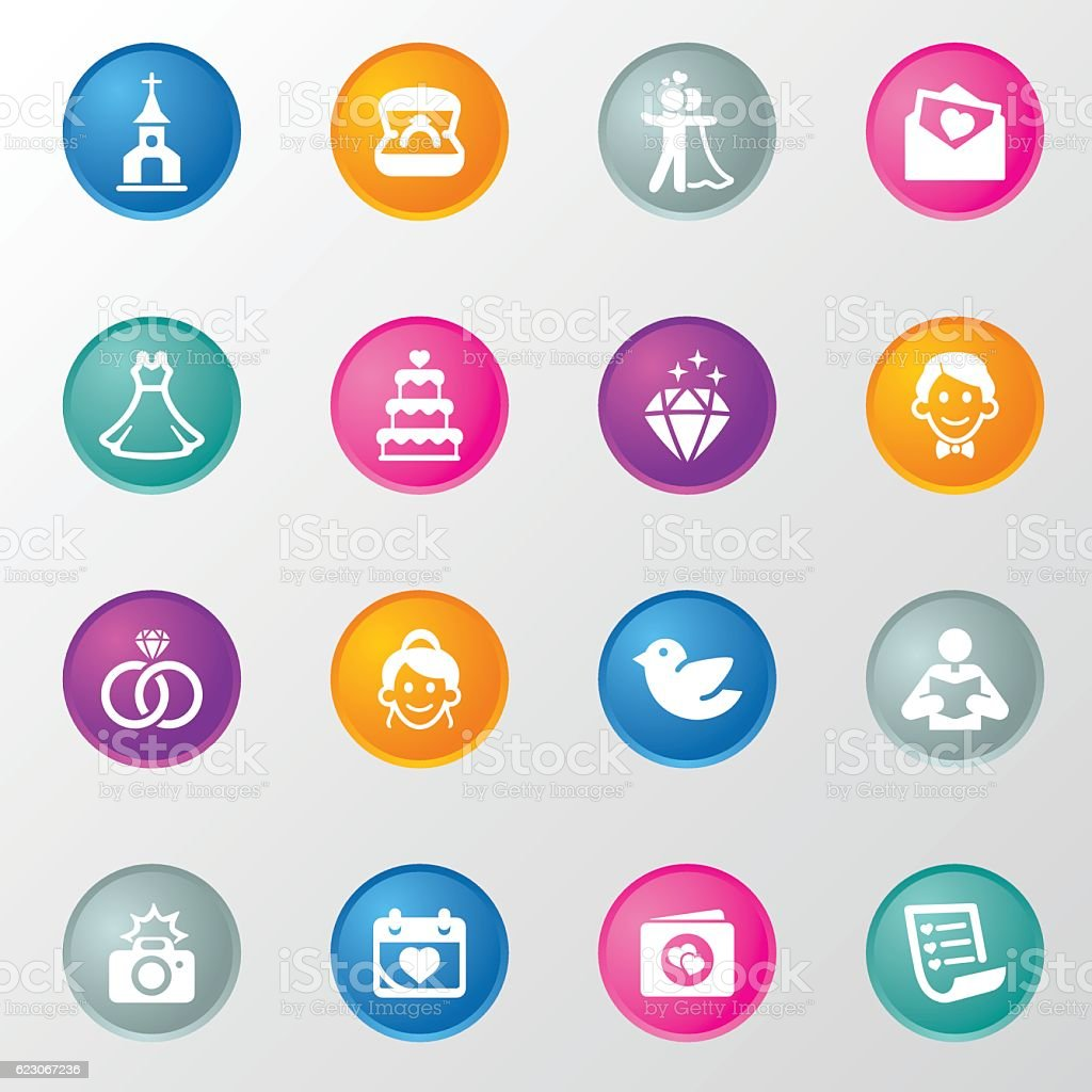 Engagement & Wedding Circle Color Icons vector art illustration