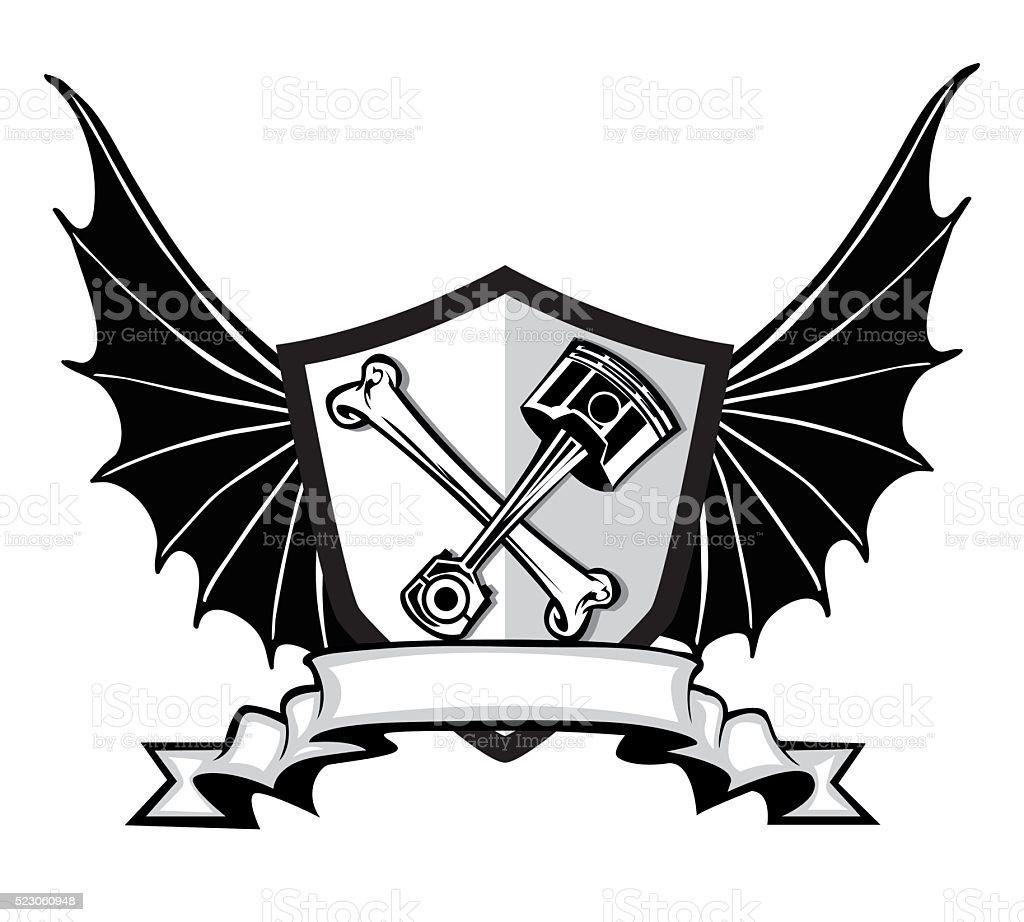 engine badge design vector art illustration