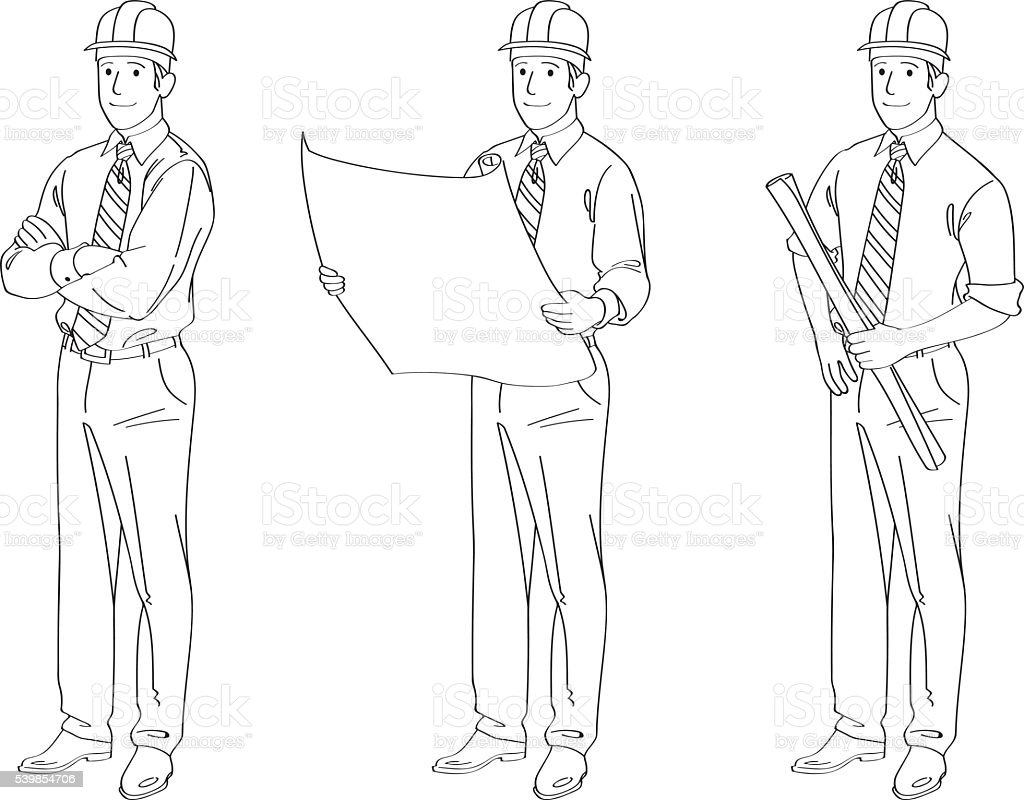 Engineer Line Drawing Illustration vector art illustration