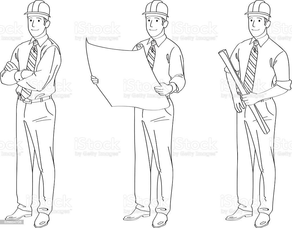 Engineer Line Drawing Illustration vector art illustration