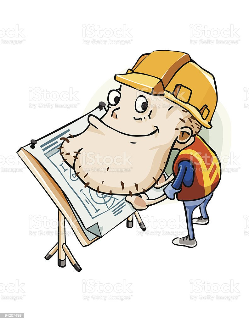 Engineer on blueprint plan. royalty-free stock vector art