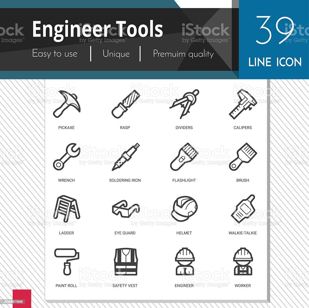 Engineer tools vector icons set on white background. vector art illustration