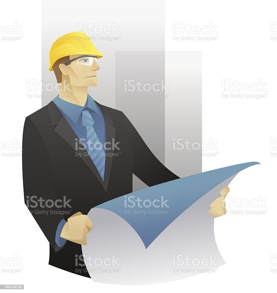 Engineer with a plan vector art illustration