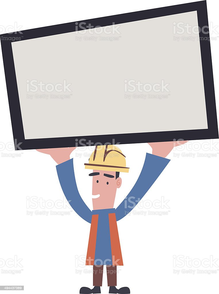 Engineer With Board vector art illustration