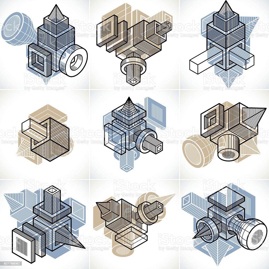 Engineering abstract geometric shapes, simple vectors set. vector art illustration