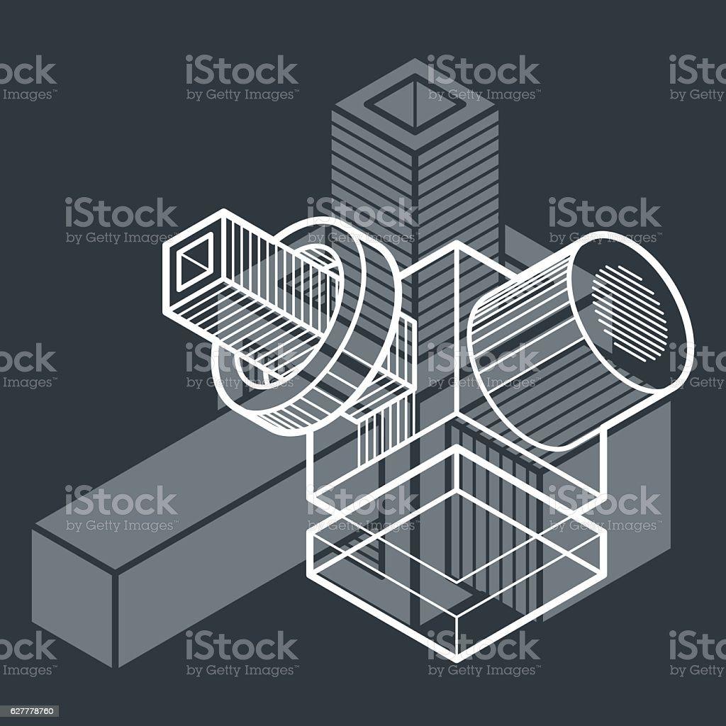 Engineering abstract shape, 3d vector polygonal figure. vector art illustration