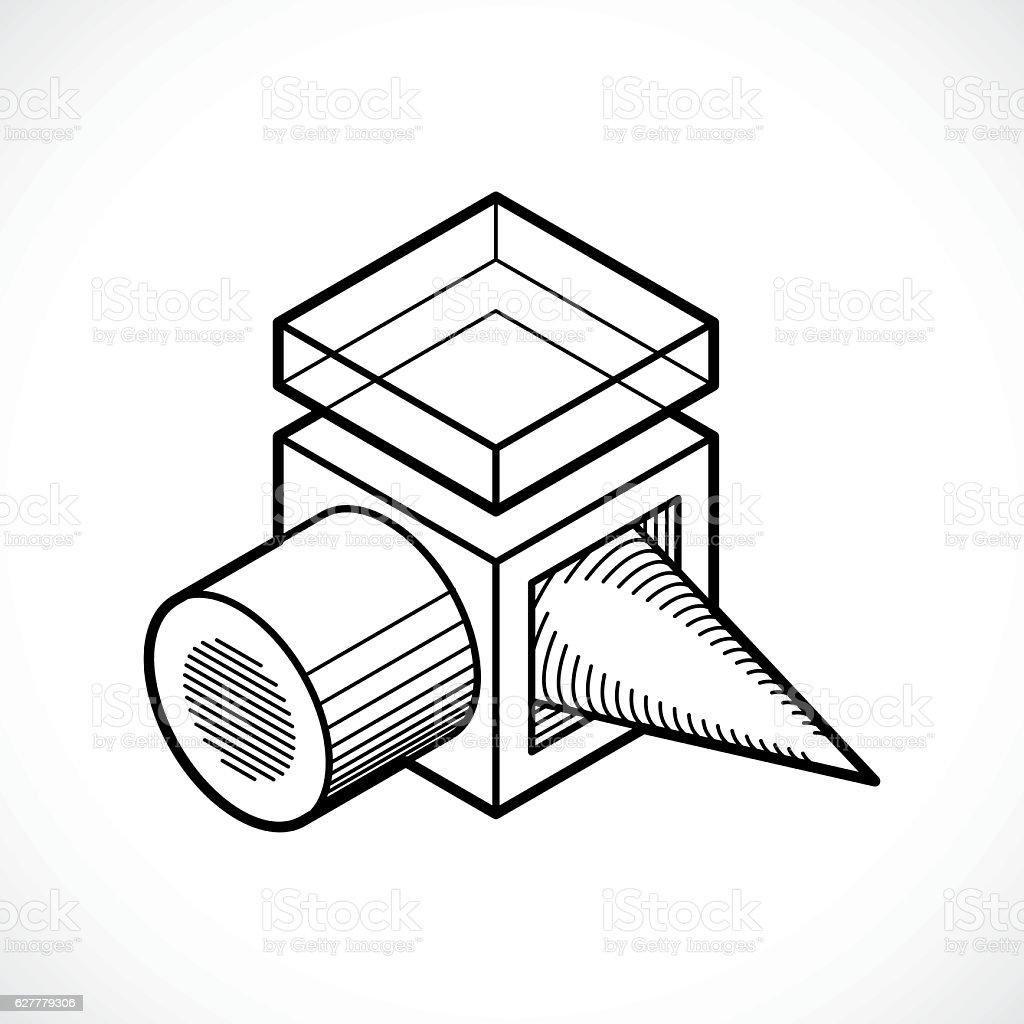 Engineering abstract shape, vector polygonal figure. vector art illustration