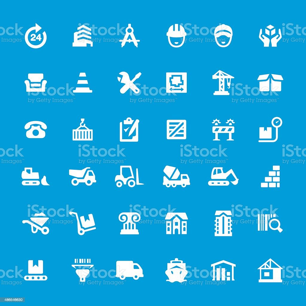 Engineering and Construction vector icon set vector art illustration