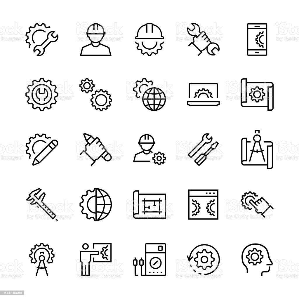 Engineering and manufacturing icon set in thin line style. vector art illustration