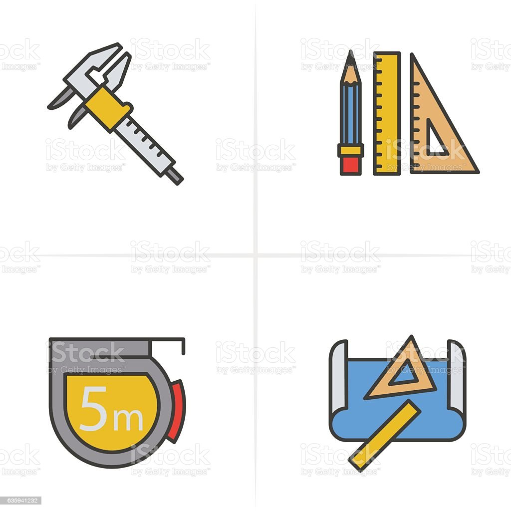 Vector of tape measure border a page border created from a rag tape - Caliper Pencil And Ruler Measuring Tape Royalty Free