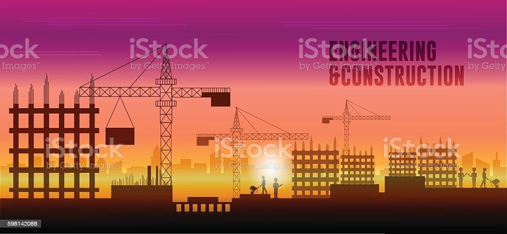Engineering construction illustration vector art illustration