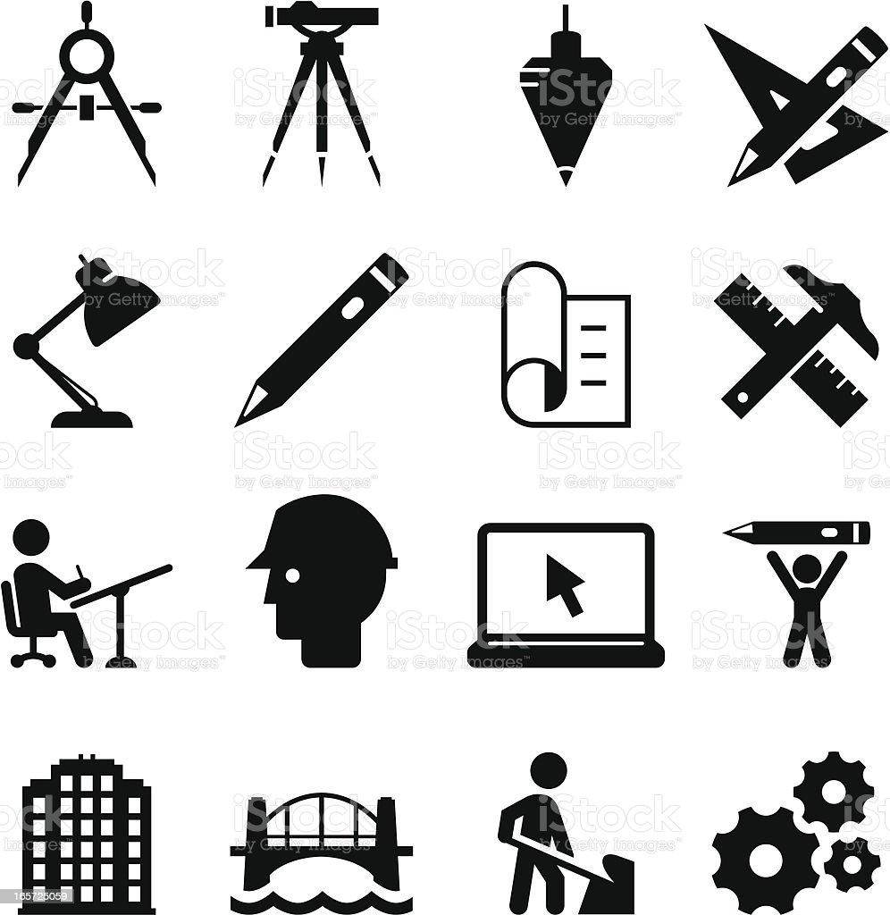 Engineering Icons - Black Series vector art illustration