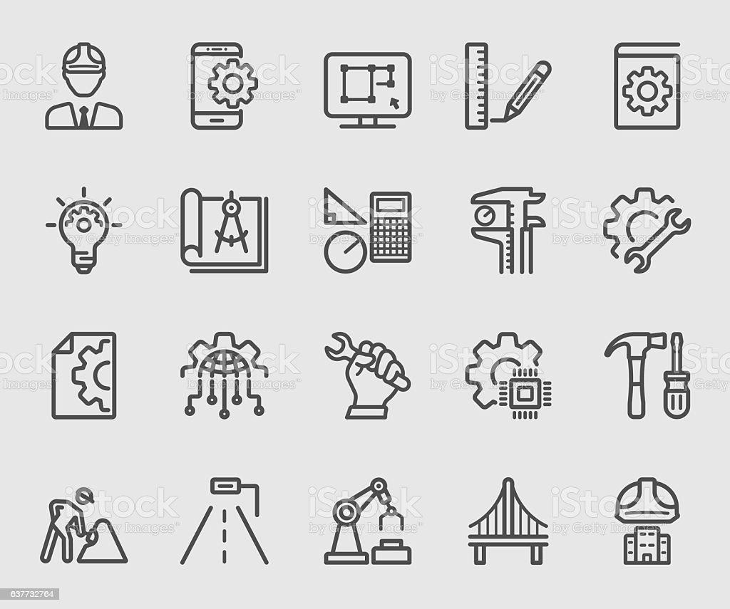 Engineering line icon vector art illustration
