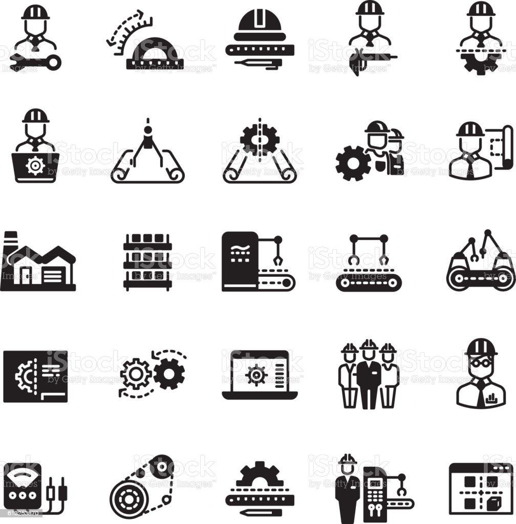 Engineering manufacturing industrial vector icon set vector art illustration