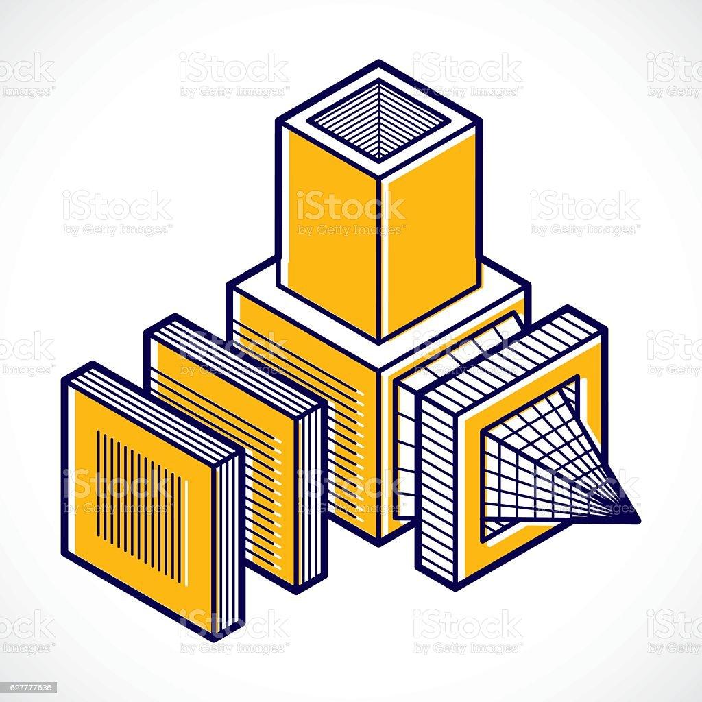 Engineering three-dimensional construction, abstract vector trig vector art illustration