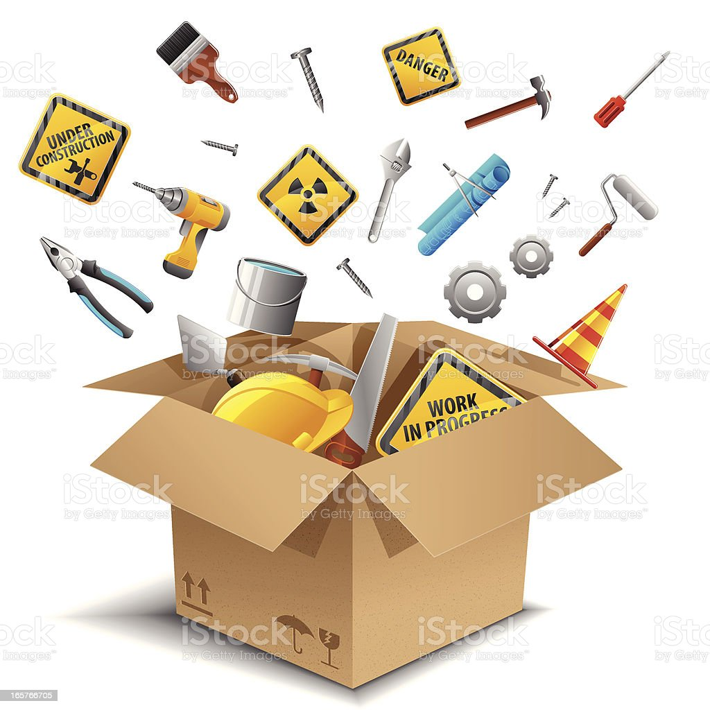 Engineering tools in the box royalty-free stock vector art