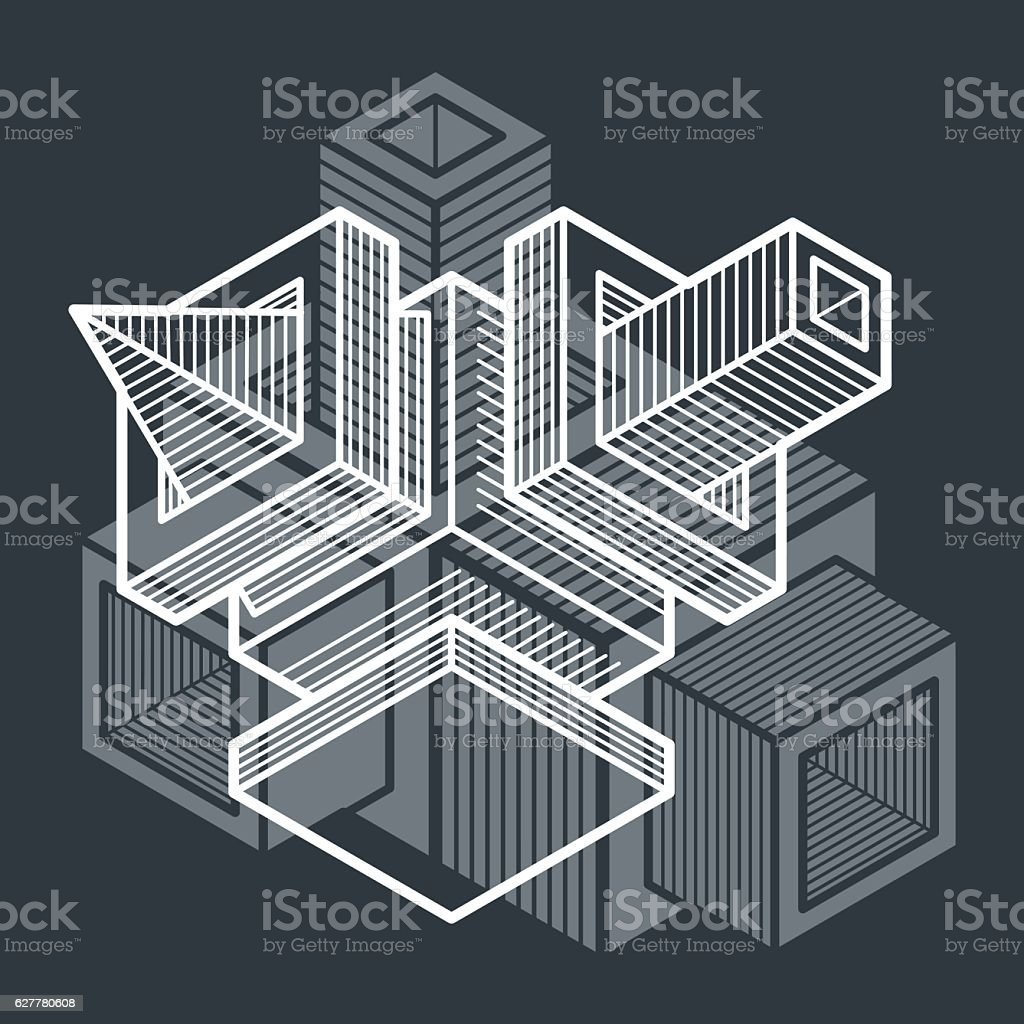 3D engineering vector, abstract shape made using cubes and geome vector art illustration