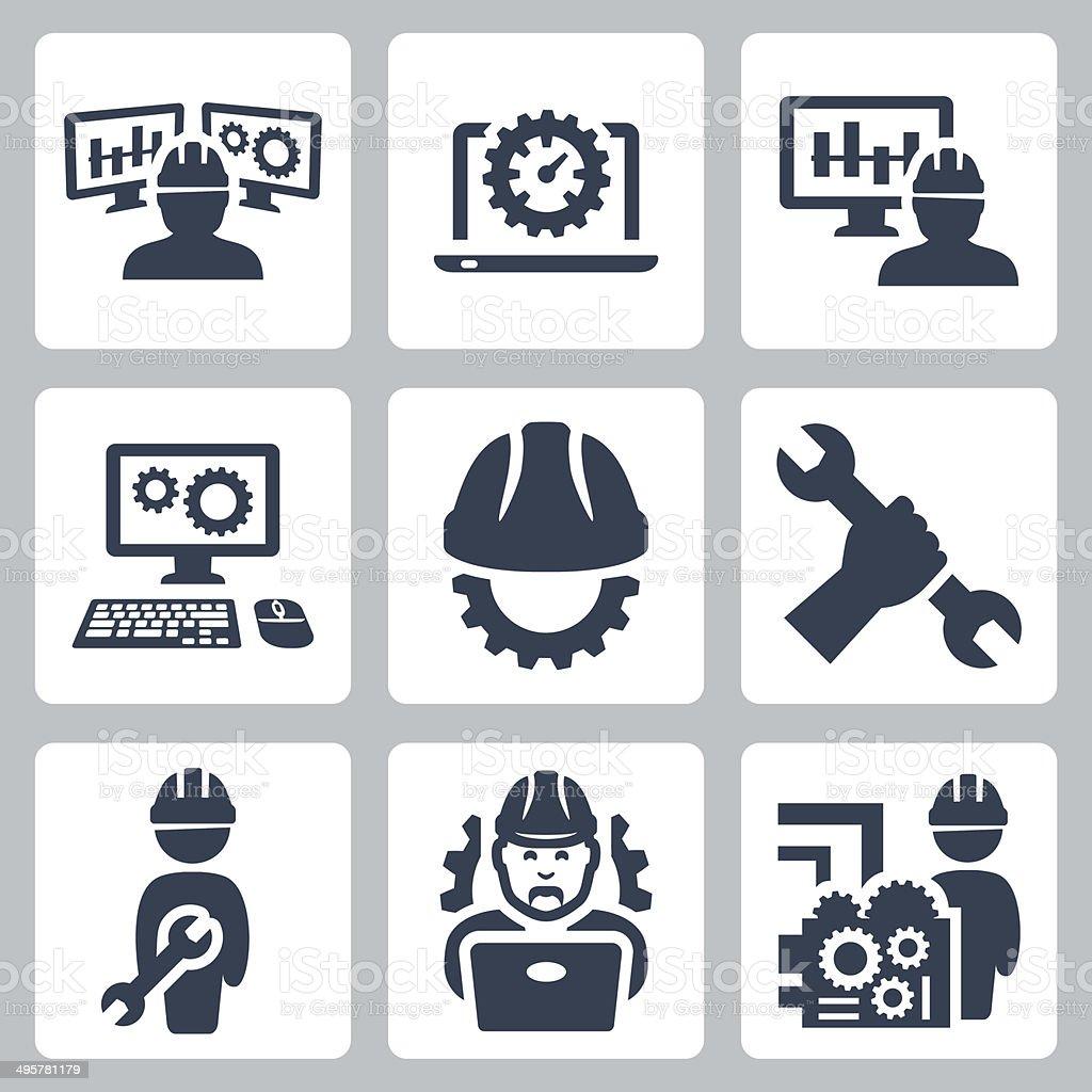 Engineering vector icons set vector art illustration