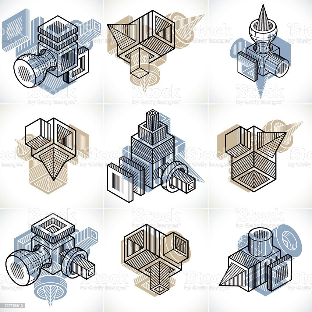 3D engineering vectors, collection of abstract shapes. vector art illustration