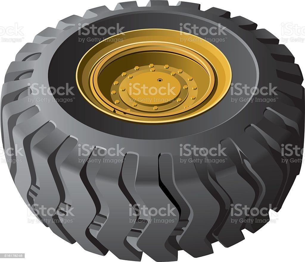 Engineering vehicles wheel vector art illustration