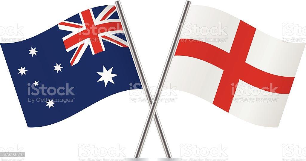 England and Australian flags. Vector. vector art illustration