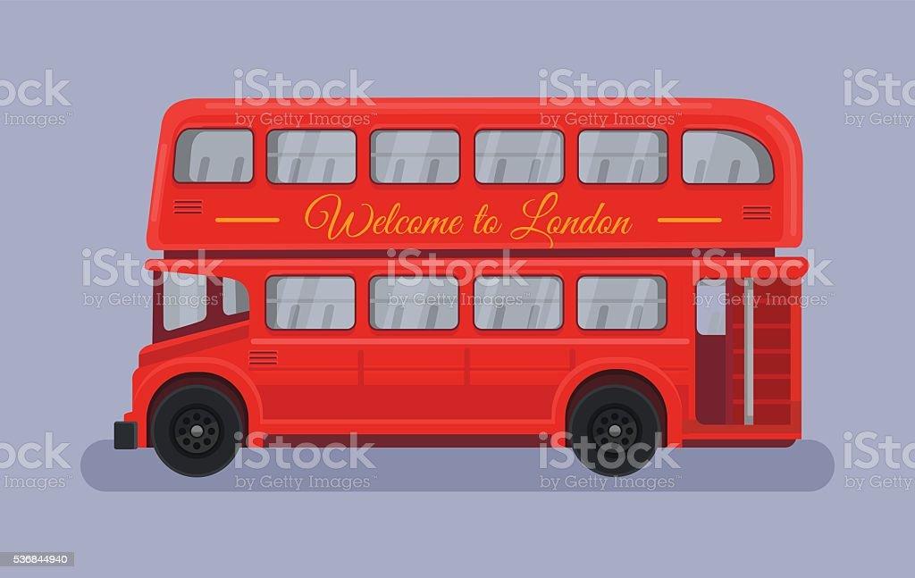 England British London red bus vector art illustration
