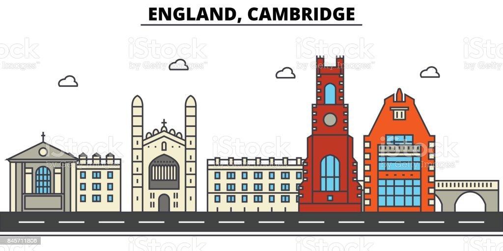 England, Cambridge. City skyline: architecture, buildings, streets, silhouette, landscape, panorama, landmarks. Editable strokes. Flat design line vector illustration concept. Isolated icons set vector art illustration