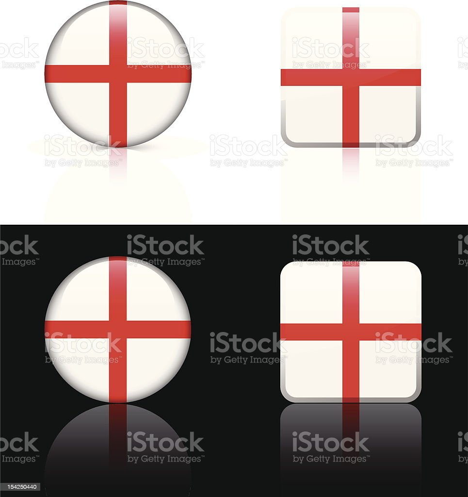 England Flag Button Set royalty-free stock vector art
