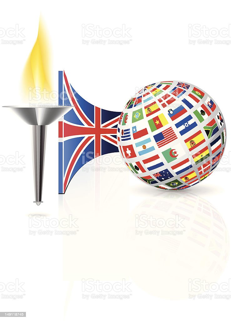 England flag with torch royalty-free stock vector art