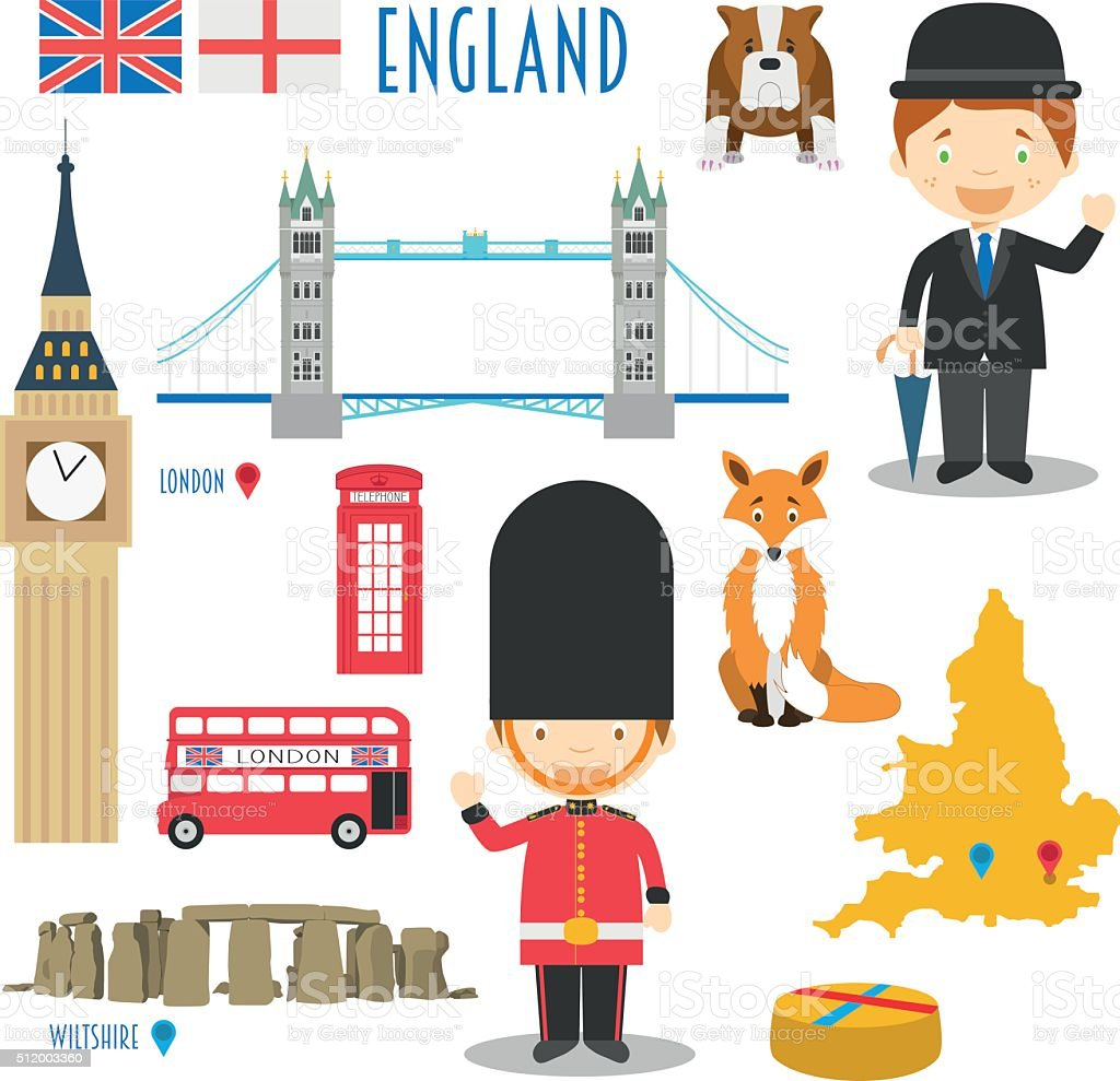 England Flat Icon Set Travel and tourism concept. Vector illustration vector art illustration